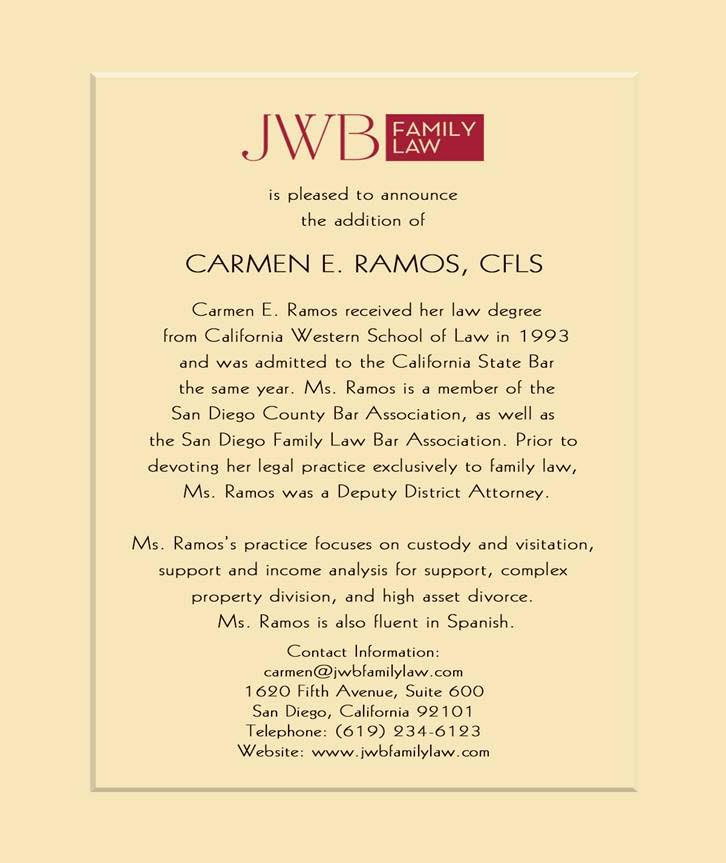 Carmen E. Ramos, CFLS jwb family law